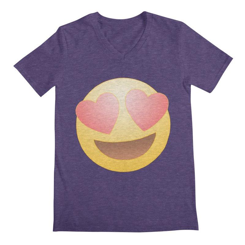 Emoji in Love Men's Regular V-Neck by BRETT WISEMAN