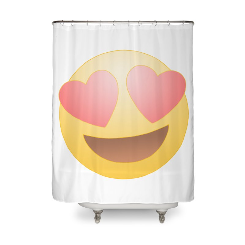 Emoji in Love Home Shower Curtain by BRETT WISEMAN
