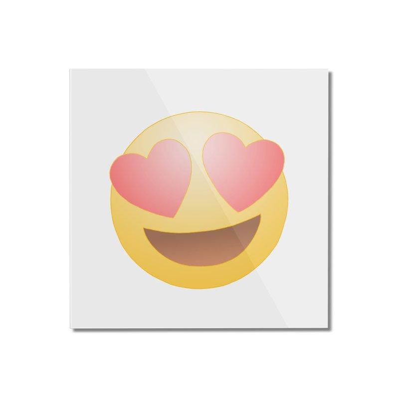 Emoji in Love Home Mounted Acrylic Print by BRETT WISEMAN
