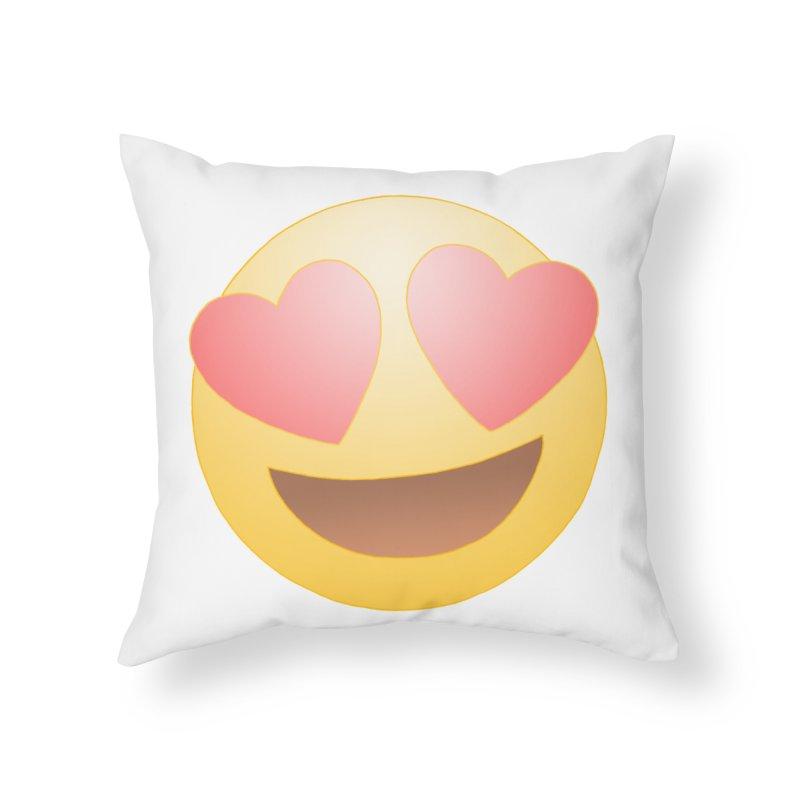 Emoji in Love Home Throw Pillow by BRETT WISEMAN