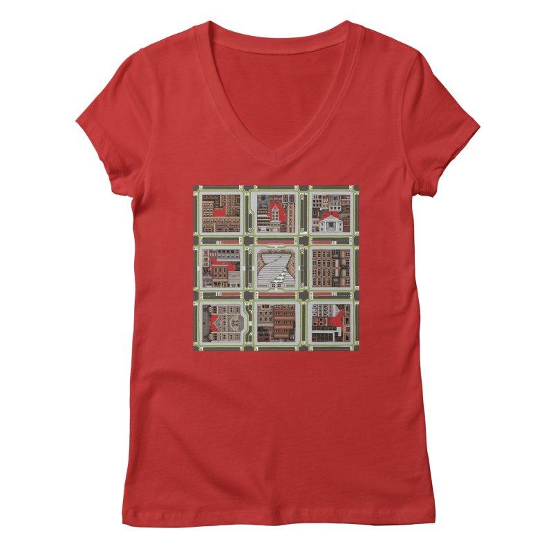 Urban Plaid Women's V-Neck by BRETT WISEMAN
