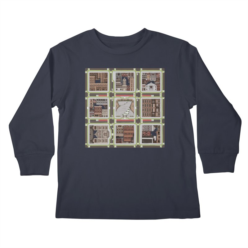Urban Plaid Kids Longsleeve T-Shirt by BRETT WISEMAN