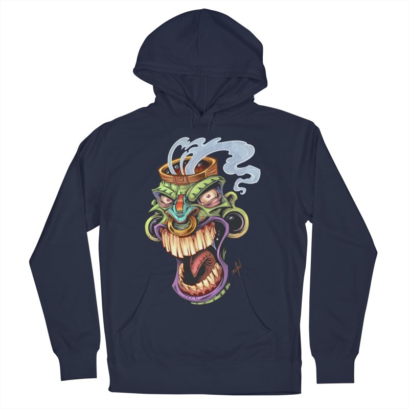 Smoking Tiki Head Women's Pullover Hoody by brian allen's Artist Shop