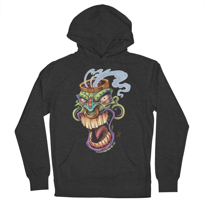 Smoking Tiki Head Men's Pullover Hoody by brian allen's Artist Shop