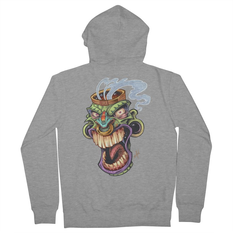 Smoking Tiki Head Women's Zip-Up Hoody by brian allen's Artist Shop