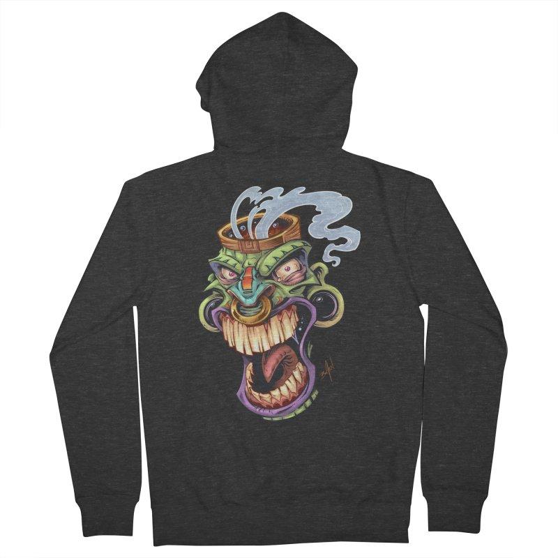 Smoking Tiki Head Men's Zip-Up Hoody by brian allen's Artist Shop