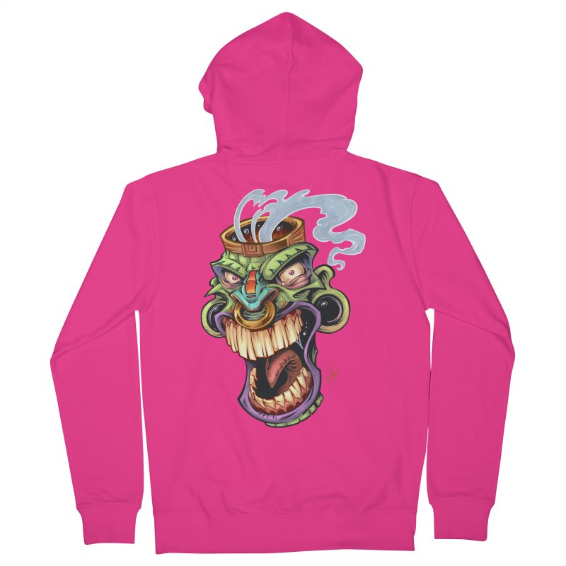Smoking Tiki Head Men's Zip-Up Hoody by brian allen's Artist Shop