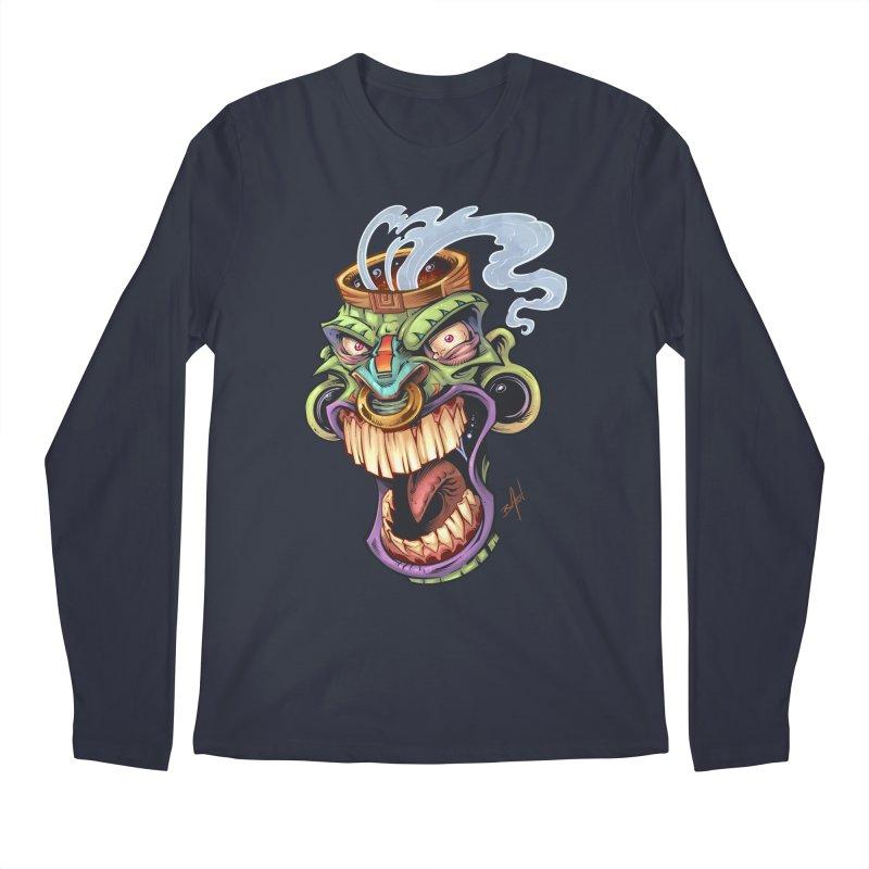 Smoking Tiki Head Men's Longsleeve T-Shirt by brian allen's Artist Shop