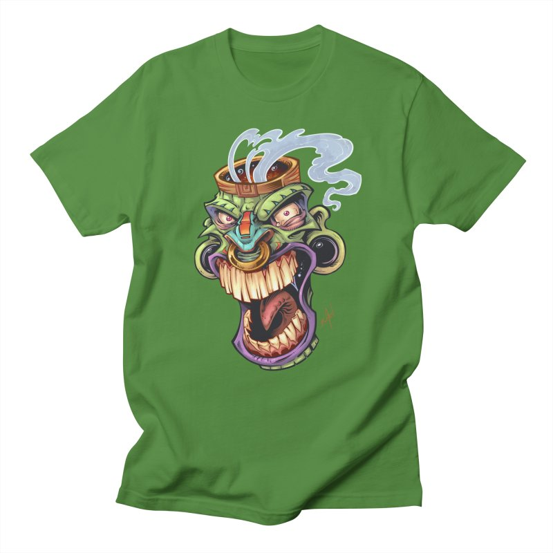 Smoking Tiki Head Men's T-Shirt by brian allen's Artist Shop