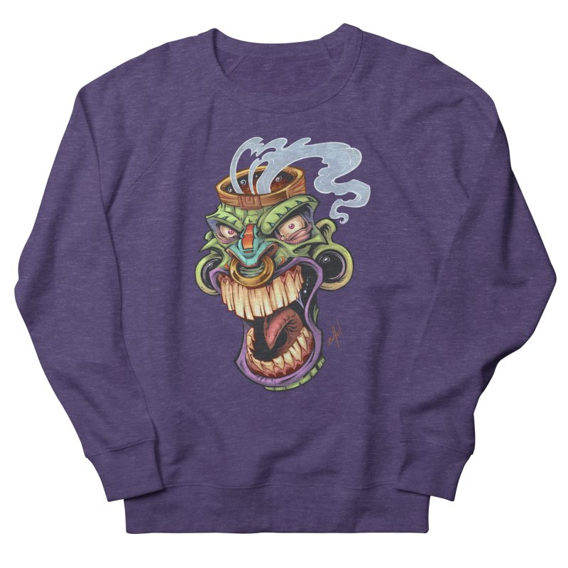 Smoking Tiki Head Women's Sweatshirt by brian allen's Artist Shop