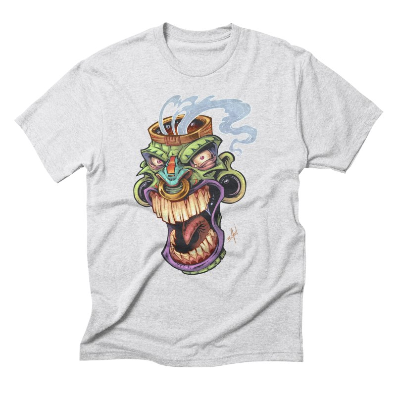 Smoking Tiki Head Men's Triblend T-shirt by brian allen's Artist Shop
