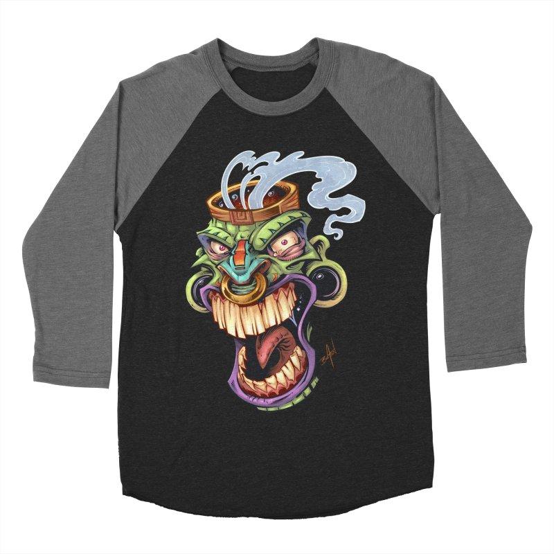 Smoking Tiki Head Women's Baseball Triblend T-Shirt by brian allen's Artist Shop
