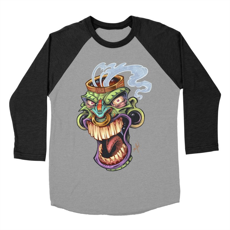 Smoking Tiki Head Men's Baseball Triblend T-Shirt by brian allen's Artist Shop