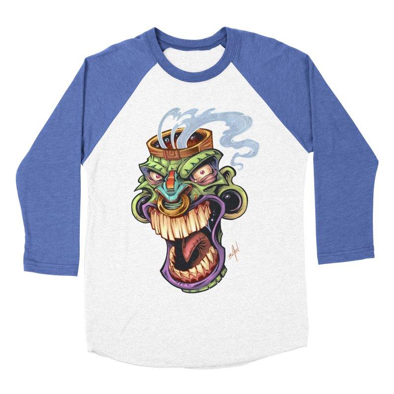Smoking Tiki Head Men's Baseball Triblend T-Shirt by brian allen's Artist Shop