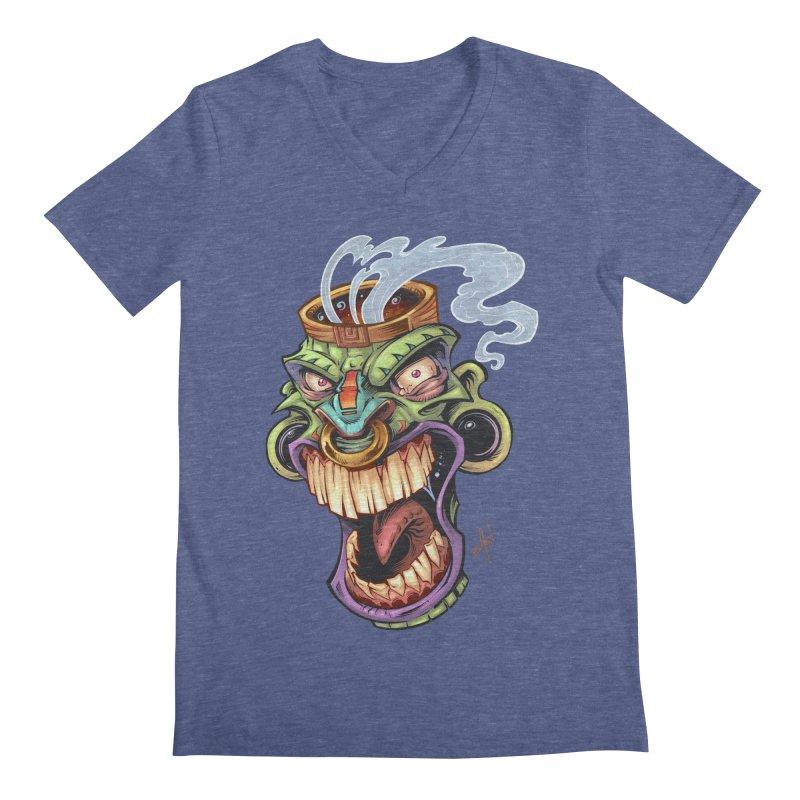 Smoking Tiki Head Men's V-Neck by brian allen's Artist Shop