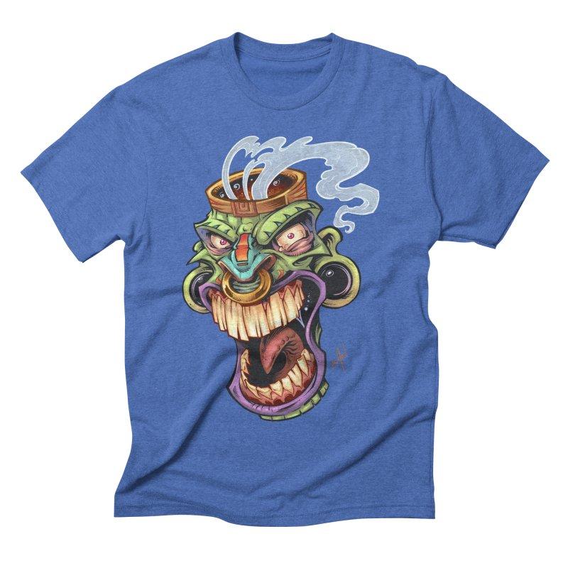 Smoking Tiki Head Men's Triblend T-shirt by brian allen's Artist Shop