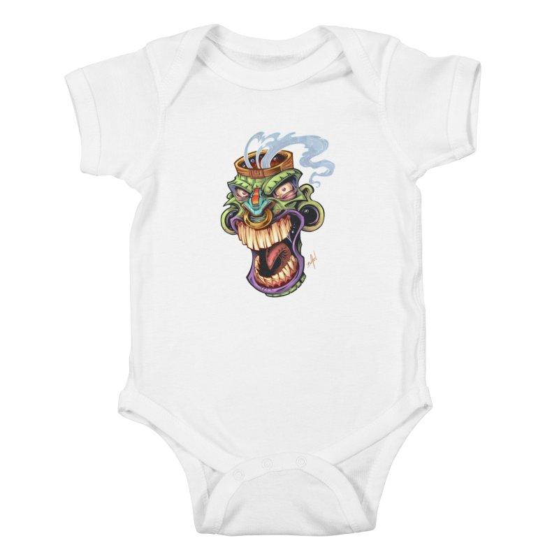 Smoking Tiki Head Kids Baby Bodysuit by brian allen's Artist Shop