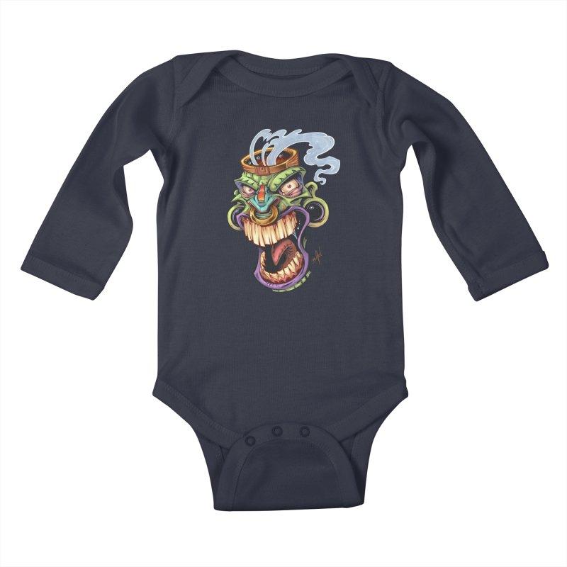 Smoking Tiki Head Kids Baby Longsleeve Bodysuit by brian allen's Artist Shop