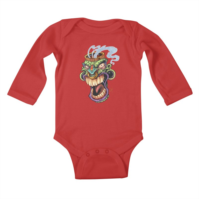 Smoking Tiki Head Kids Baby Longsleeve Bodysuit by brian allen's Artist Shop