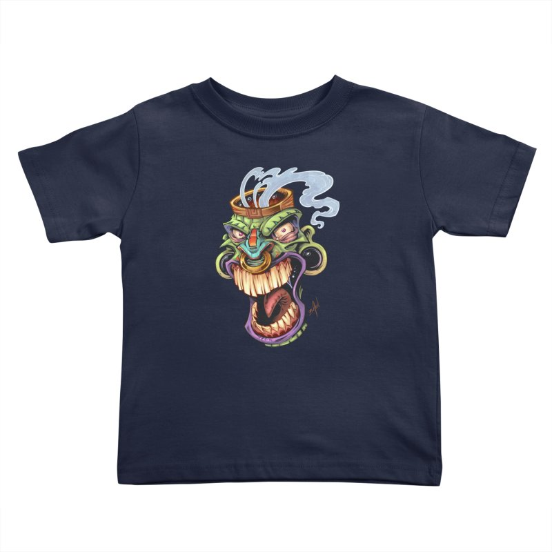 Smoking Tiki Head Kids Toddler T-Shirt by brian allen's Artist Shop
