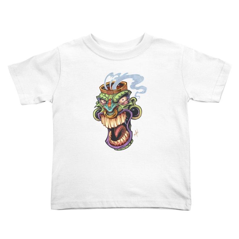 Smoking Tiki Head Kids Toddler T-Shirt by brian allen's Artist Shop