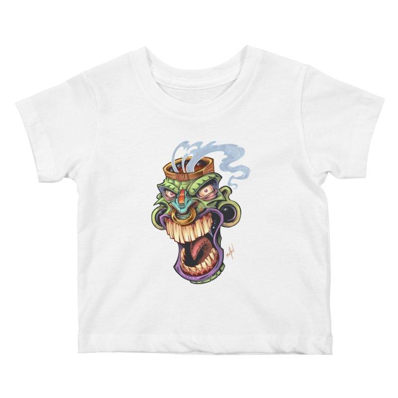 Smoking Tiki Head Kids Baby T-Shirt by brian allen's Artist Shop