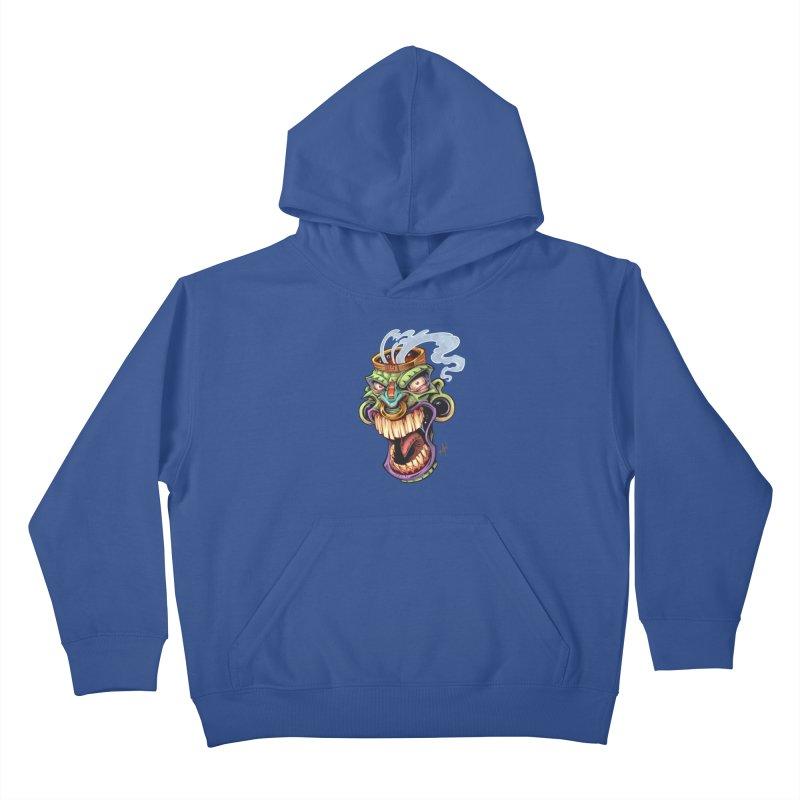 Smoking Tiki Head Kids Pullover Hoody by brian allen's Artist Shop