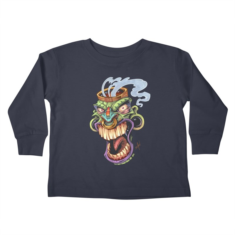Smoking Tiki Head Kids Toddler Longsleeve T-Shirt by brian allen's Artist Shop