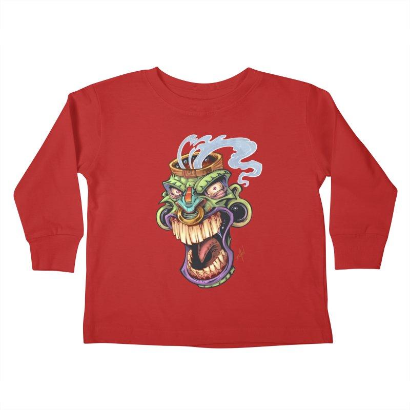 Smoking Tiki Head Kids Toddler Longsleeve T-Shirt by brian allen's Artist Shop