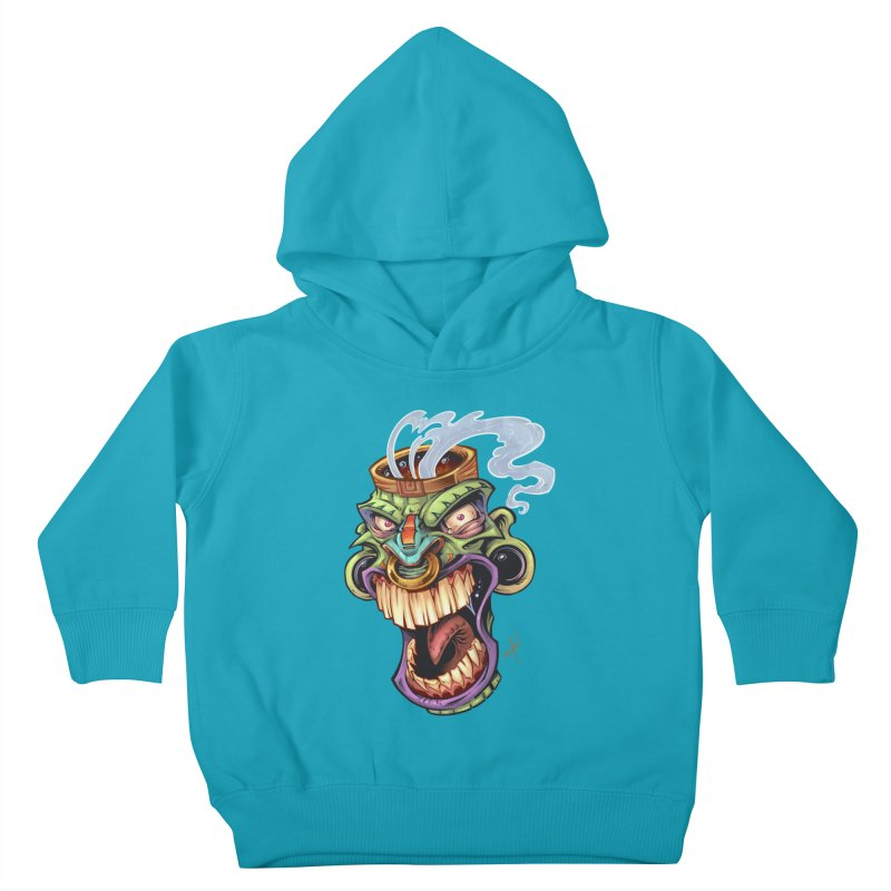 Smoking Tiki Head Kids Toddler Pullover Hoody by brian allen's Artist Shop