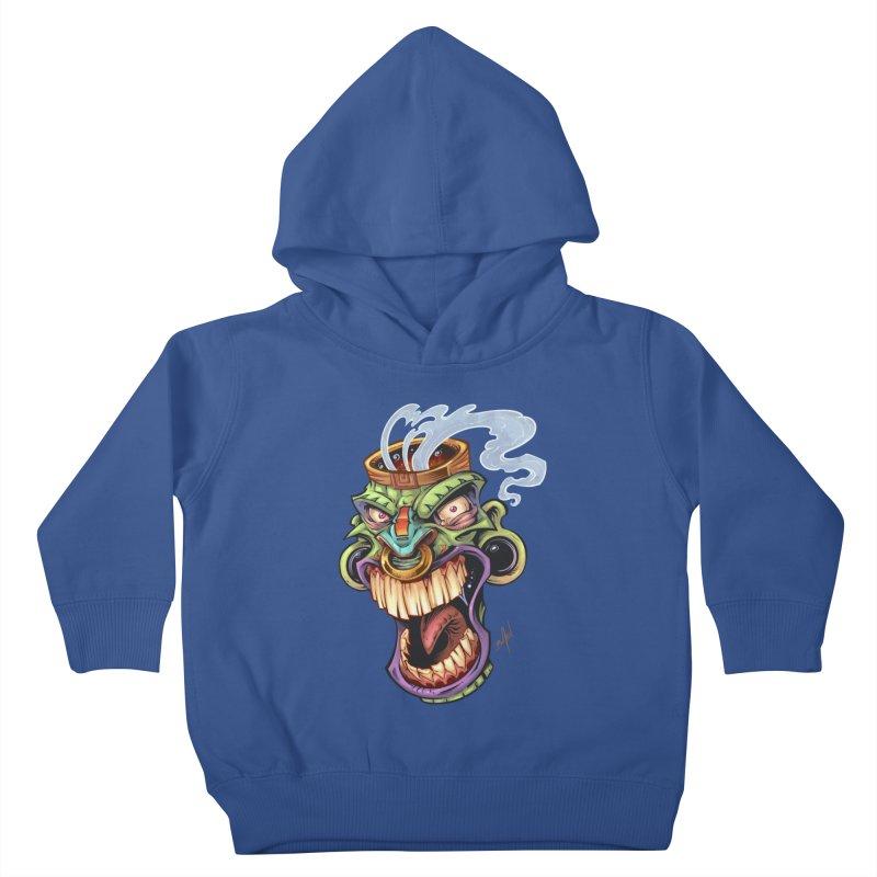 Smoking Tiki Head Kids Toddler Pullover Hoody by brian allen's Artist Shop