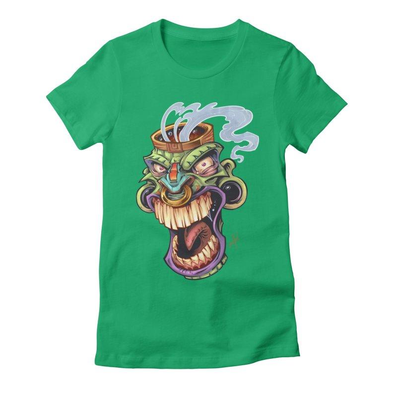 Smoking Tiki Head Women's Fitted T-Shirt by brian allen's Artist Shop