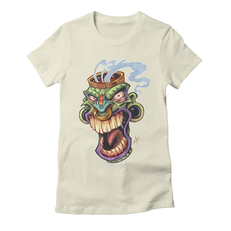 Smoking Tiki Head Women's Fitted T-Shirt by brian allen's Artist Shop