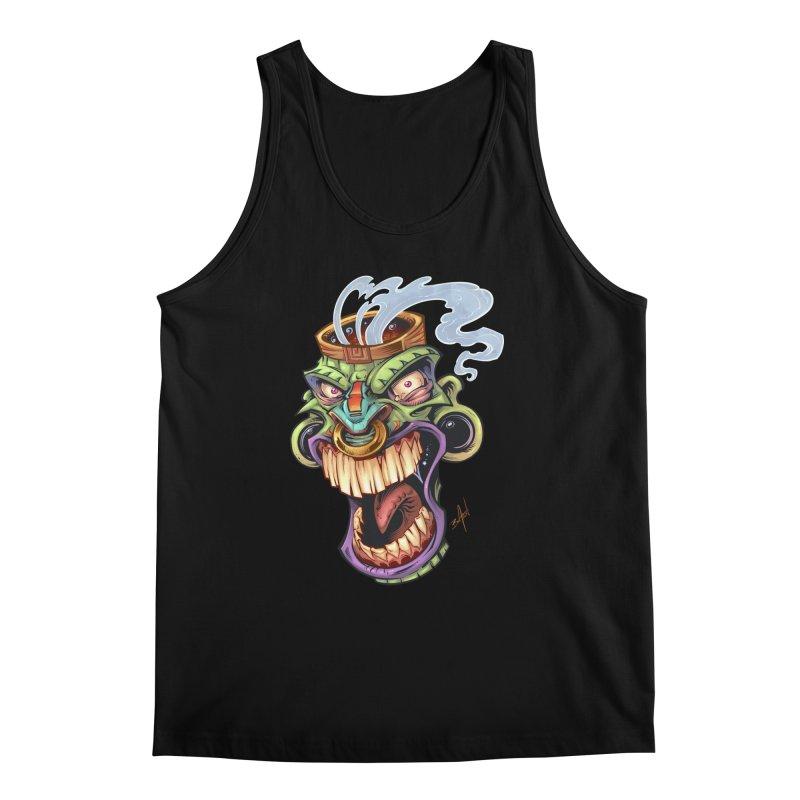 Smoking Tiki Head Men's Tank by brian allen's Artist Shop