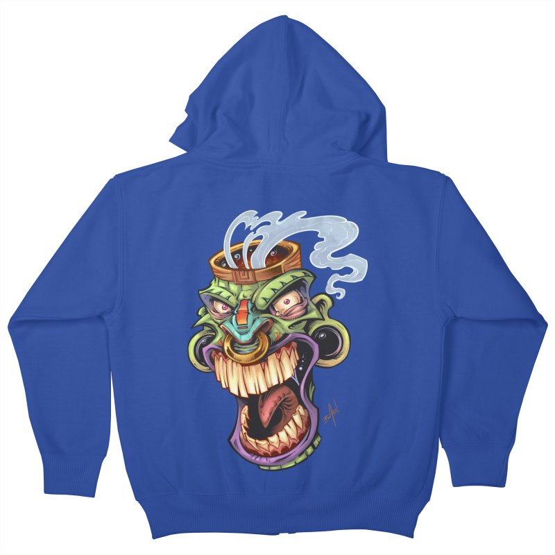 Smoking Tiki Head Kids Zip-Up Hoody by brian allen's Artist Shop