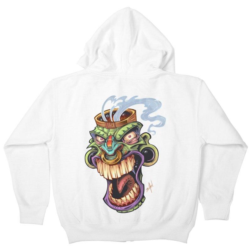 Smoking Tiki Head Kids Zip-Up Hoody by brian allen's Artist Shop