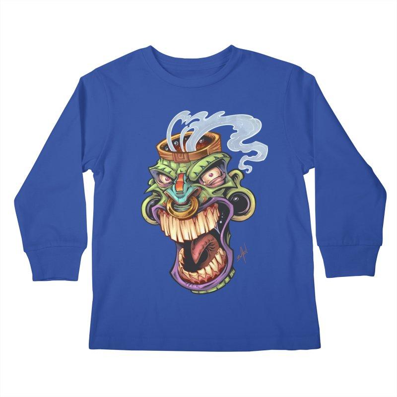 Smoking Tiki Head Kids Longsleeve T-Shirt by brian allen's Artist Shop