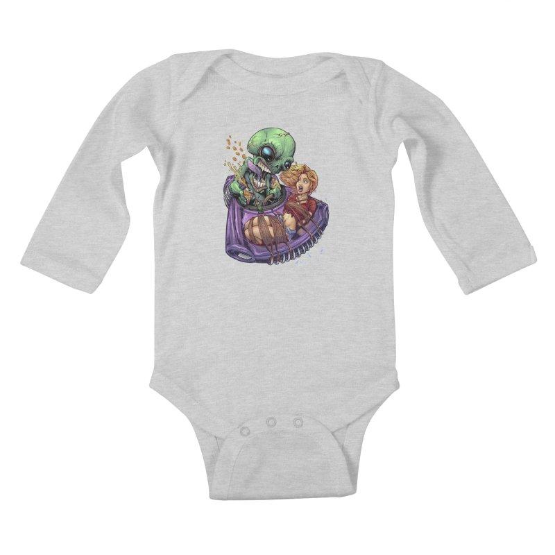 Alien Take out Kids Baby Longsleeve Bodysuit by brian allen's Artist Shop