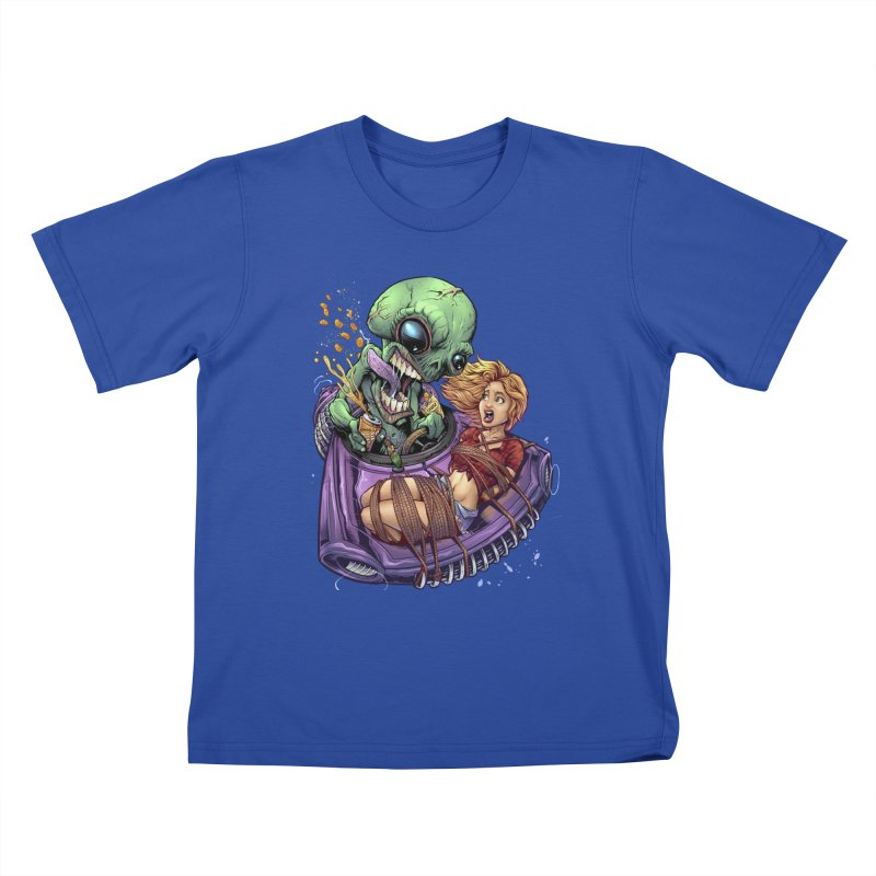 Alien Take out Kids T-Shirt by brian allen's Artist Shop