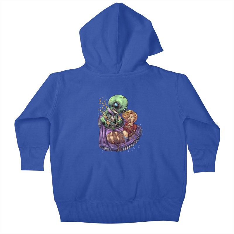 Alien Take out Kids Baby Zip-Up Hoody by brian allen's Artist Shop