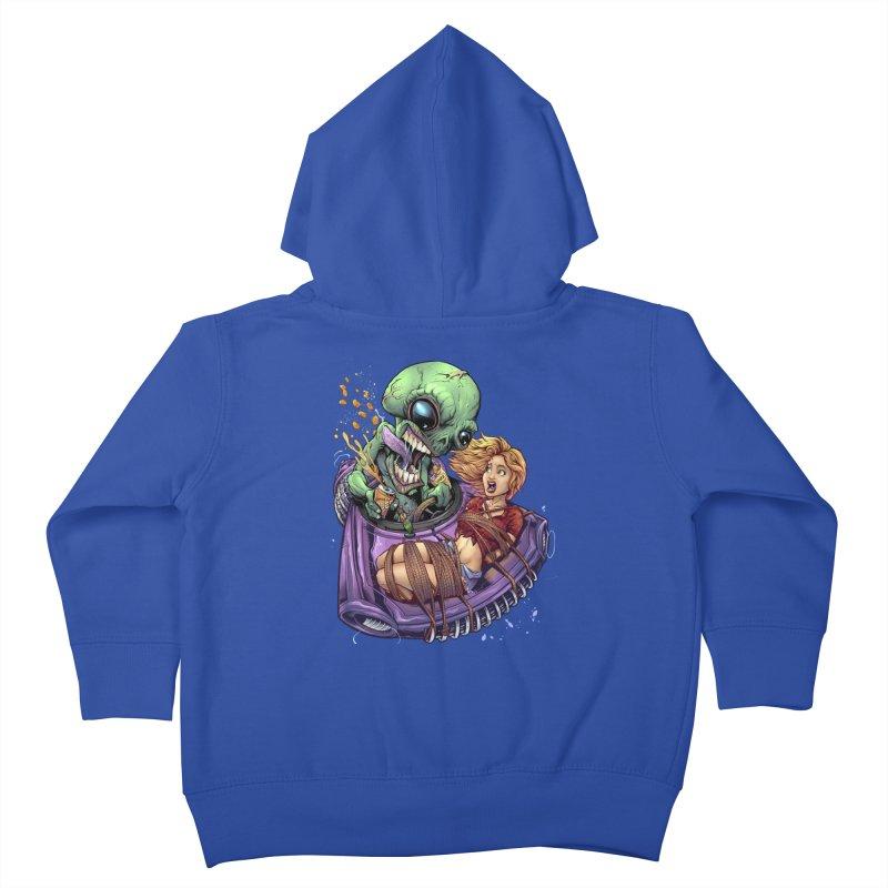 Alien Take out Kids Toddler Zip-Up Hoody by brian allen's Artist Shop