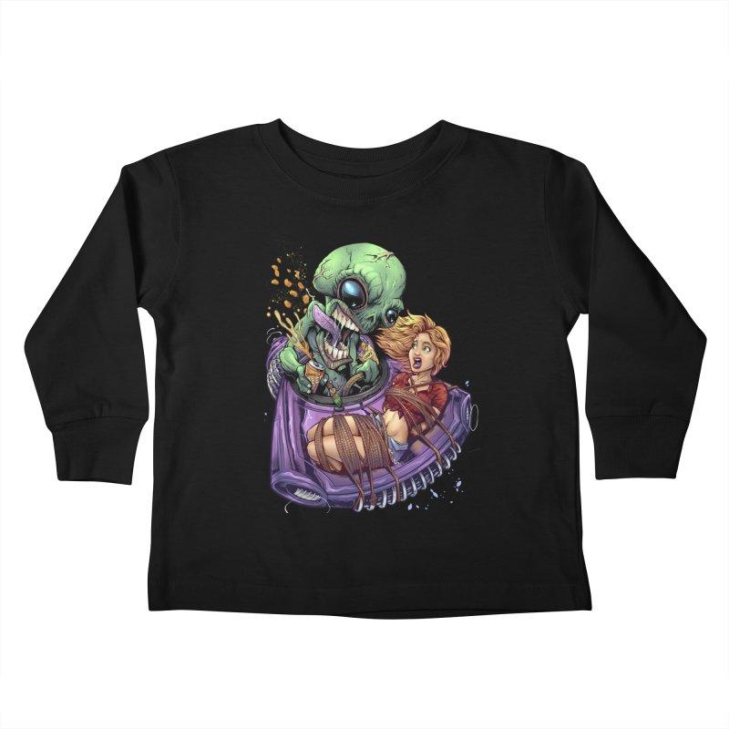 Alien Take out Kids Toddler Longsleeve T-Shirt by brian allen's Artist Shop