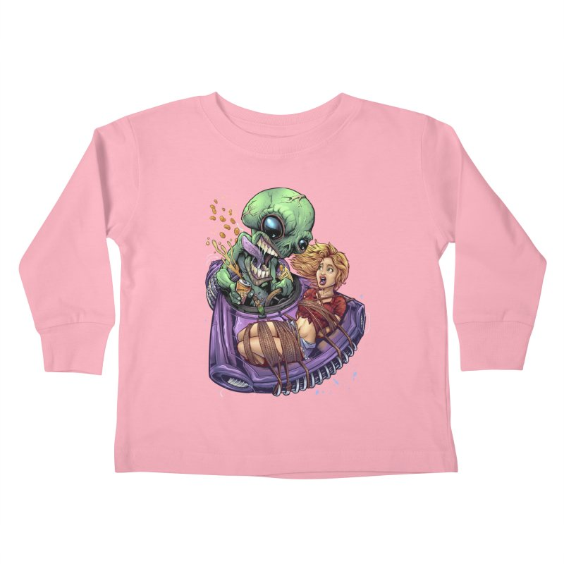 Alien Take out Kids Toddler Longsleeve T-Shirt by brian allen's Artist Shop