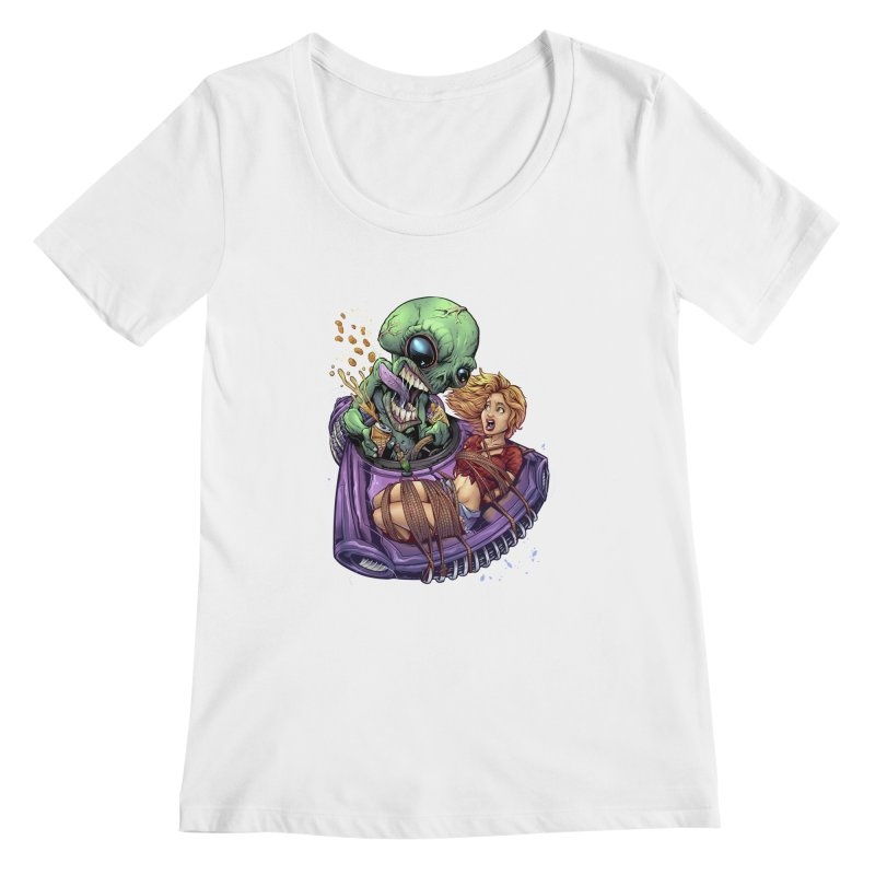 Alien Take out Women's Scoopneck by brian allen's Artist Shop