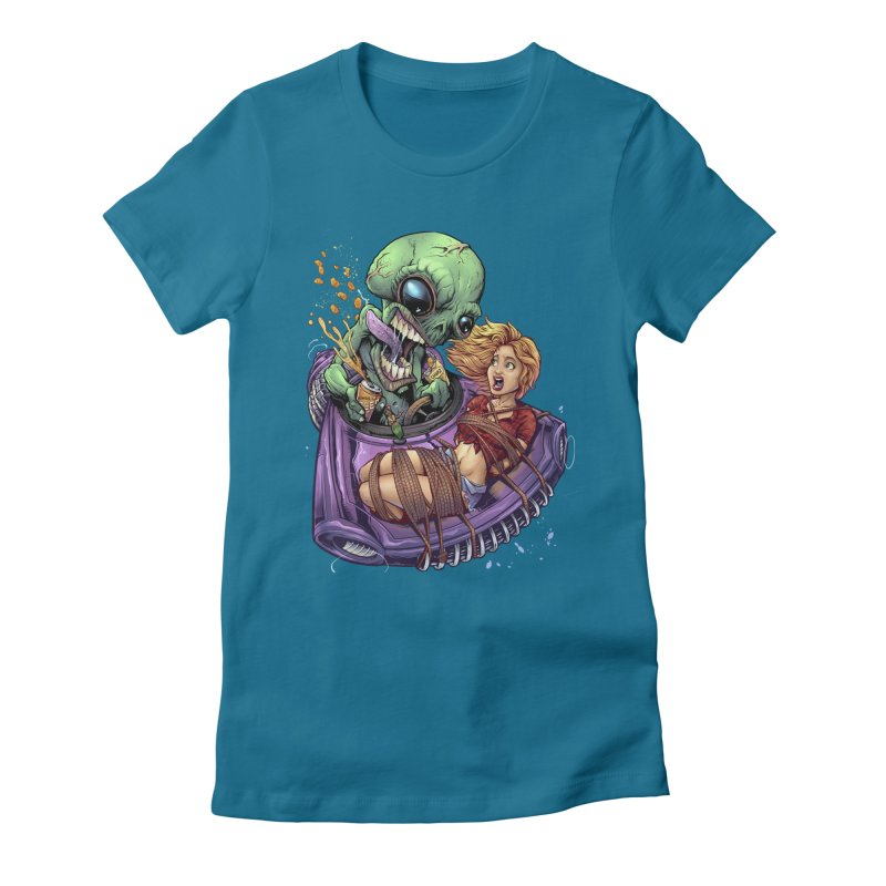 Alien Take out Women's Fitted T-Shirt by brian allen's Artist Shop