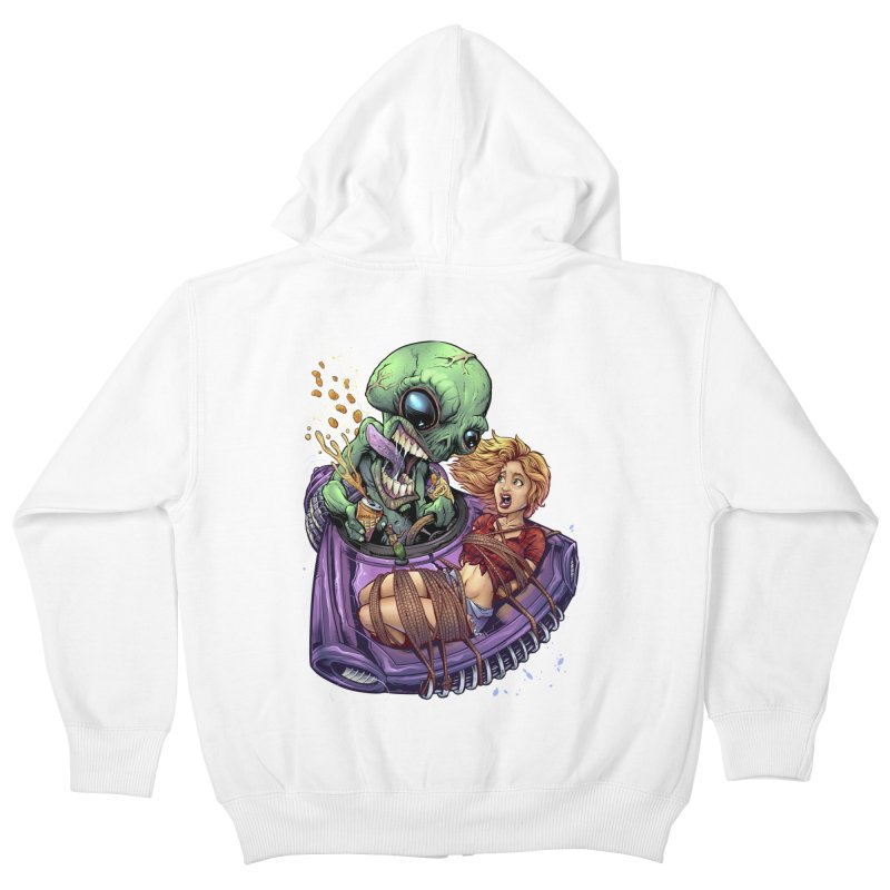 Alien Take out Kids Zip-Up Hoody by brian allen's Artist Shop
