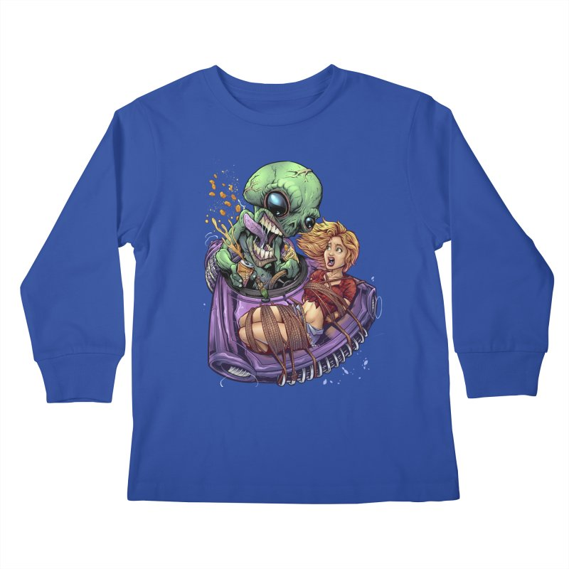 Alien Take out Kids Longsleeve T-Shirt by brian allen's Artist Shop