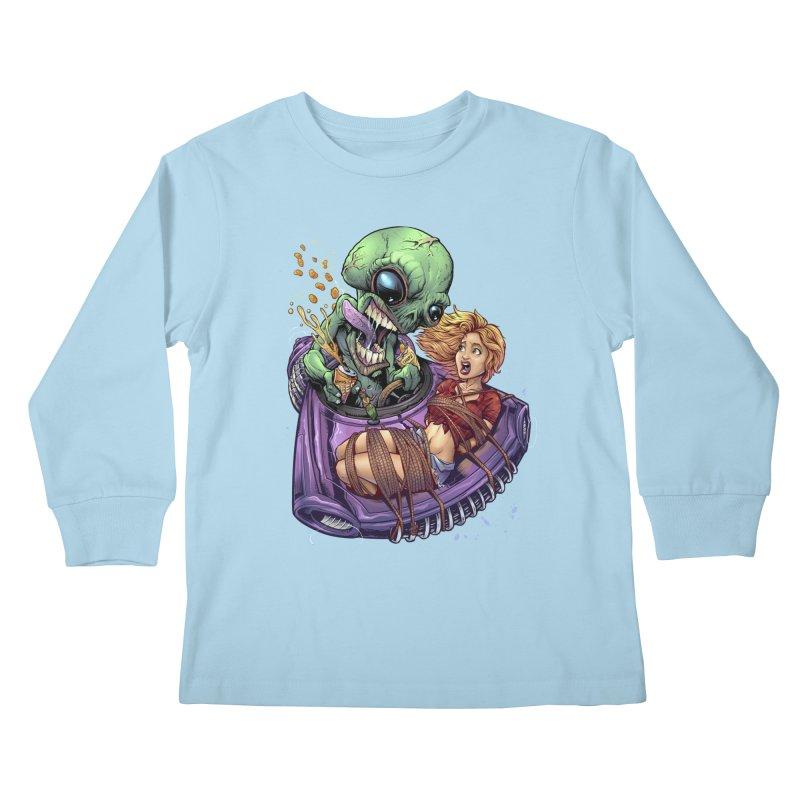 Alien Take out Kids Longsleeve T-Shirt by brian allen's Artist Shop