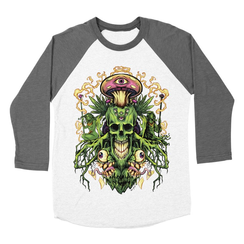 Marijuana Skull and Mushrooms Women's Baseball Triblend T-Shirt by brian allen's Artist Shop