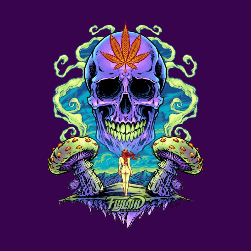 Purple Cannabis Skull with Mushrooms by brian allen's Artist Shop